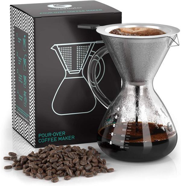 Glaskaraffe für Kaffee mit Filter
